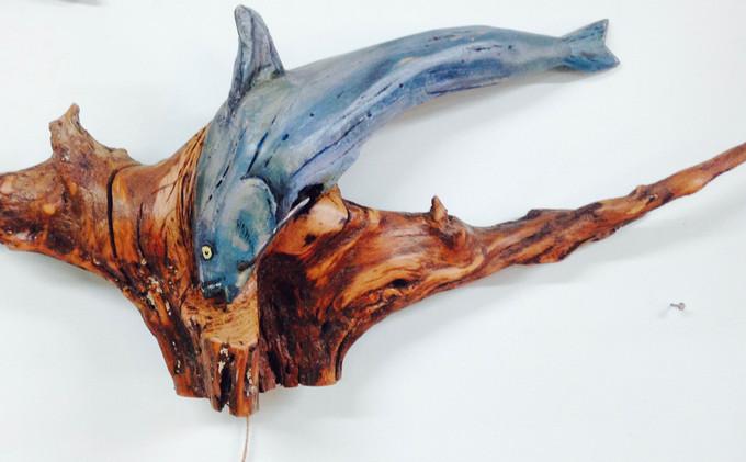 TN Locust Stump Blue Catfish Sculpture