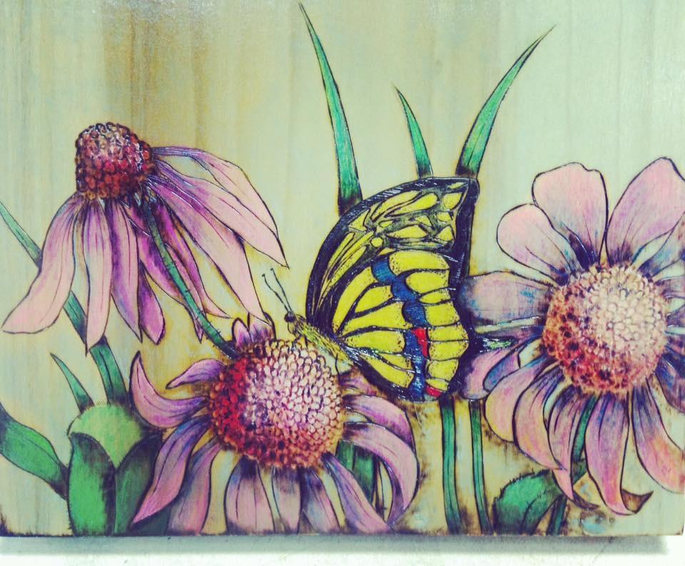 Woodburned & Watercolored Art