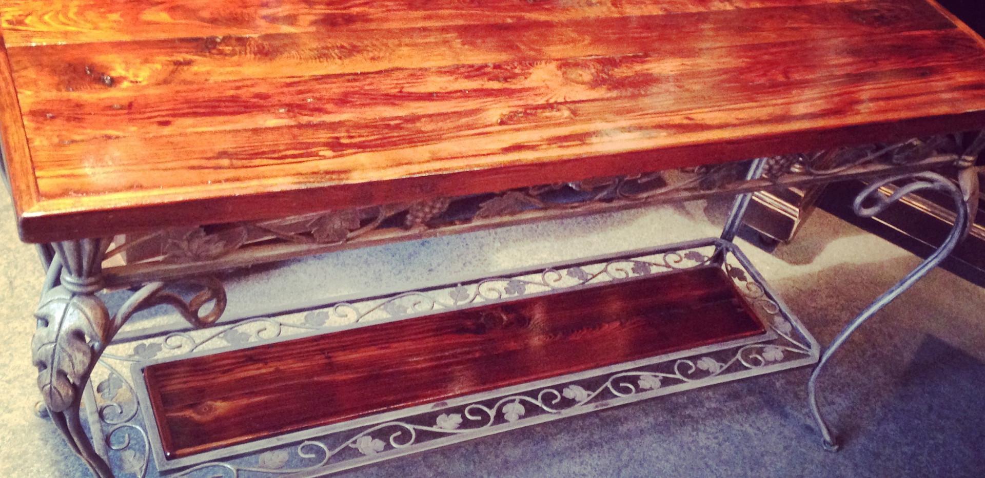 Heart Pine & Iron Sofa Table