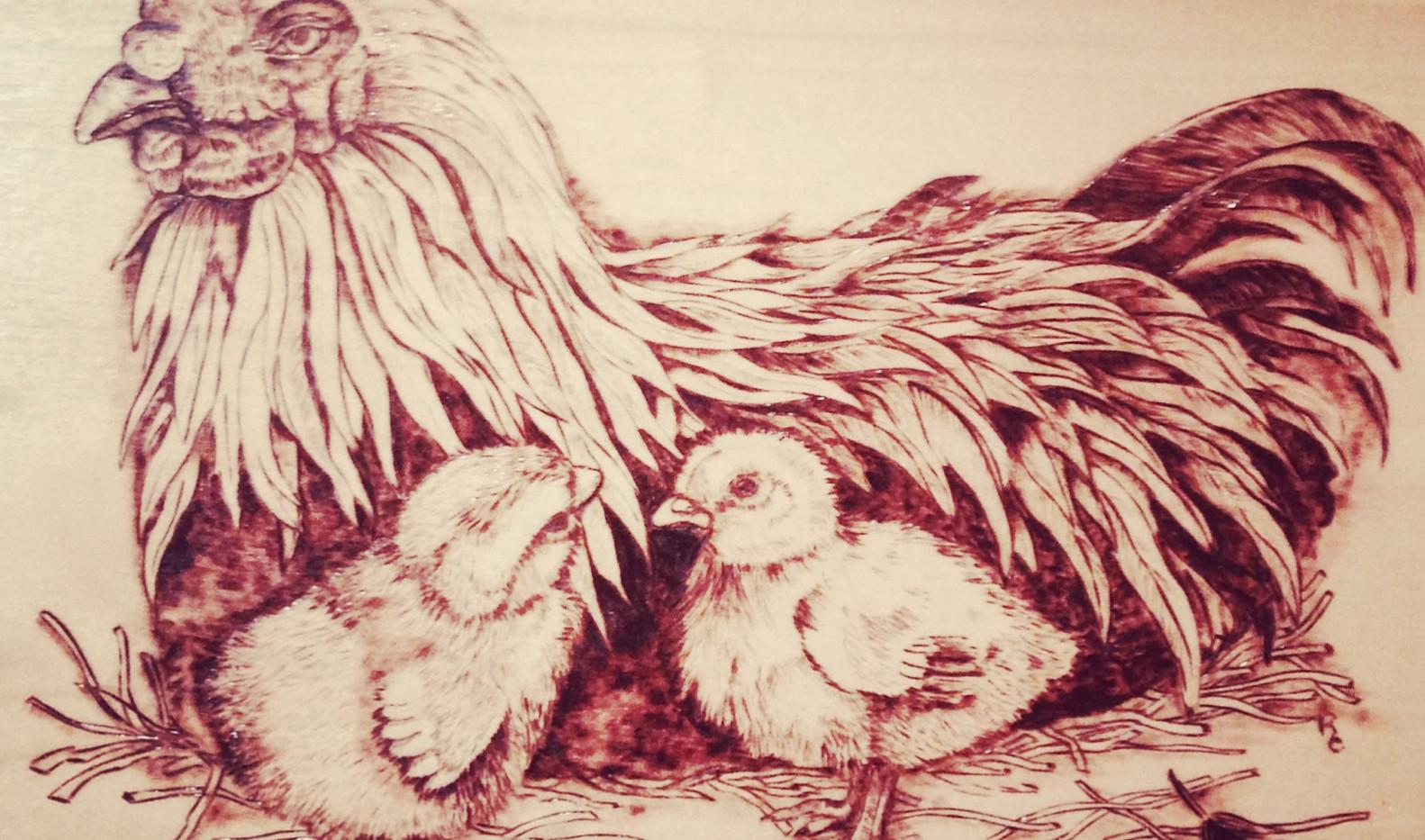 Woodburned Hen & Chicks