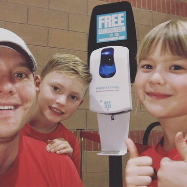 Sunscreen dispenser at Busch Stadium