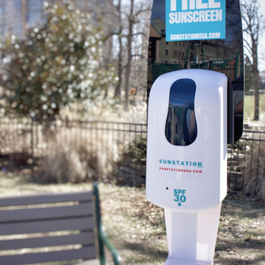 Sunstation sunscreen dispenser at local park