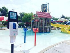 sunscreen dispenser, public sunscreen dispenser, community sunscreen dispenser, sunscreen dispenser at swimming pool,
