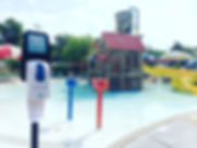 Sunscreen Dispenser by Sunstation USA at city aquatic center