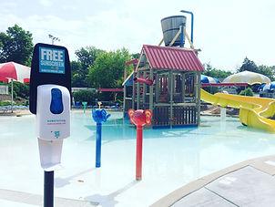 Sunscreen Dispenser by Sunstation USA at city aquatic center