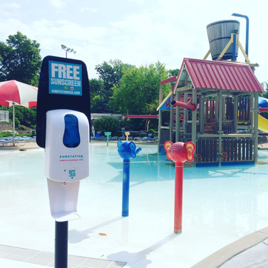 Sunstation USA Sunscreen Dispenser at Aquatic Center