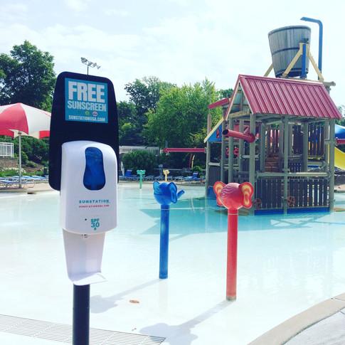 Sunstation USA Sunscreen Dispenser at Aquatic Center
