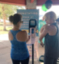 Sunscreen Dispenser by Sunstation USA at shelter house 5K race