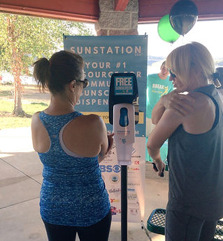 Sunscreen Dispenser by Sunstation USA at shelter house 5K race