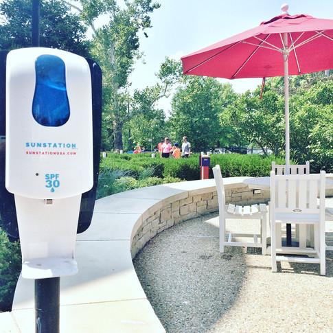 Sunstation sunscreen dispenser at city park