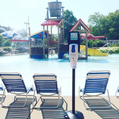 Sunstation USA Sunscreen Dispenser at Kirkwood Swimming Pool