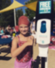 Sunscreen Dispenser by Sunstation USA at local swim meet Kirkwood Riptides
