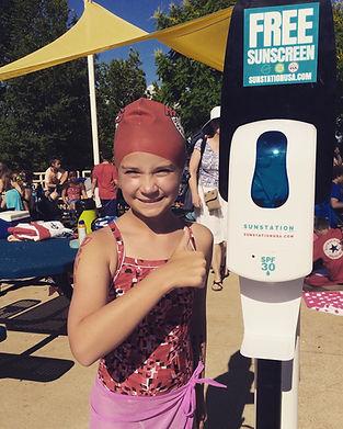 Sunscreen Dispenser by Sunstation USA at local swim meet Kirkwood Riptides