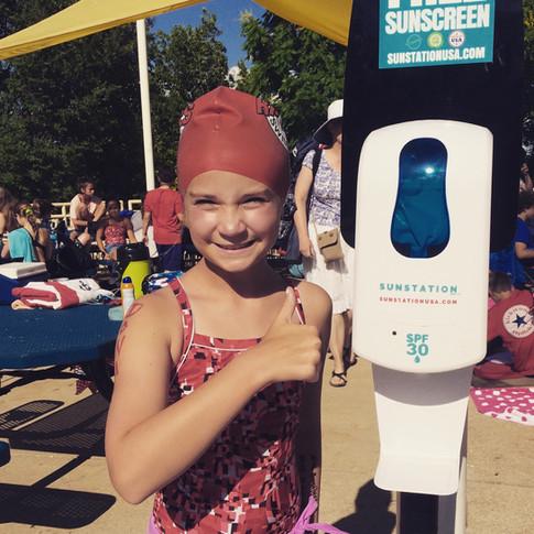 Sunstation USA Sunscreen Dispenser at Kirkwood Riptides Swim Meet