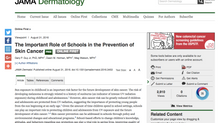 The Important Role of Schools in the Prevention of Skin Cancer