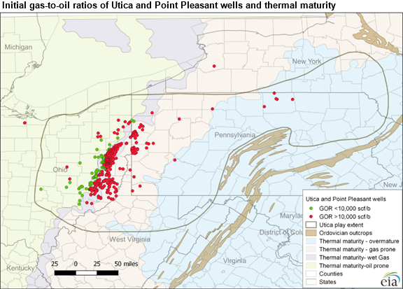 Initial Gas to Oil ratios of Utica and Pt Pleasant Wells and Thermal Maturity