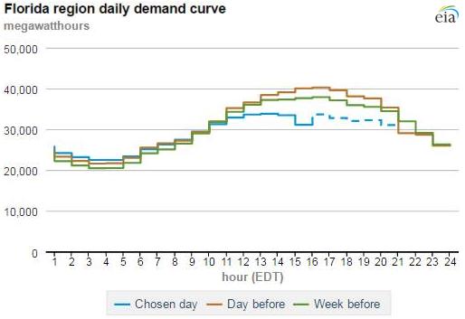 Florida region daily demand curve