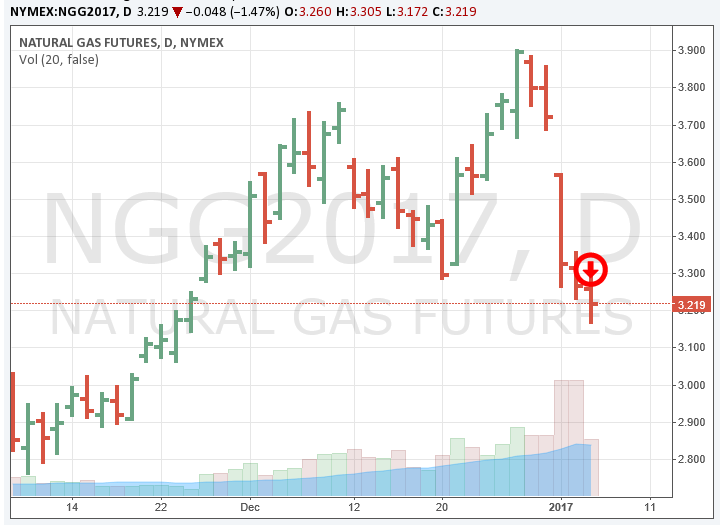 CME Natural Gas Futures 1-5-17