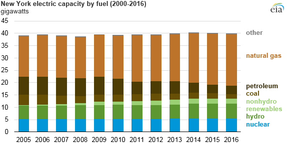 NY Electricity capacity by fuel