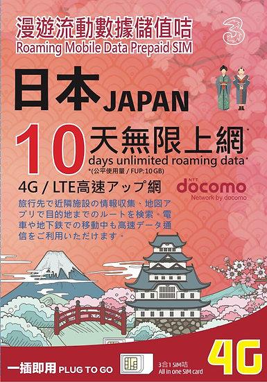 日本數據電話卡-4G-10GB-10Day (3HK)