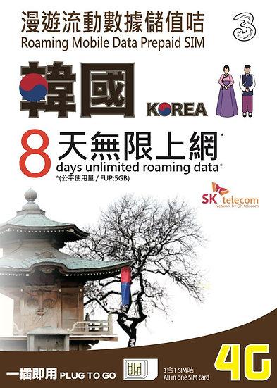 韓國數據電話卡-4G-10GB-8Day (3HK)