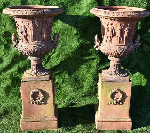 A Pair Pair of Victorian Terracotta Urns