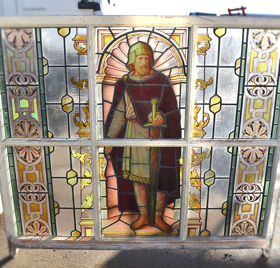 Victorian stained glass panel depicting a crusader in a painted wooden fram