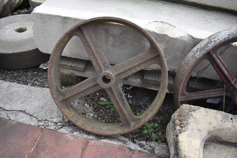 vintage cast iron wheels decorative item