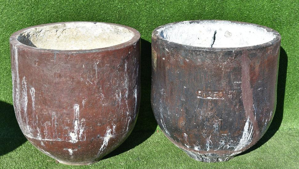 A Large Pair of Vintage Ceramic Garden pots