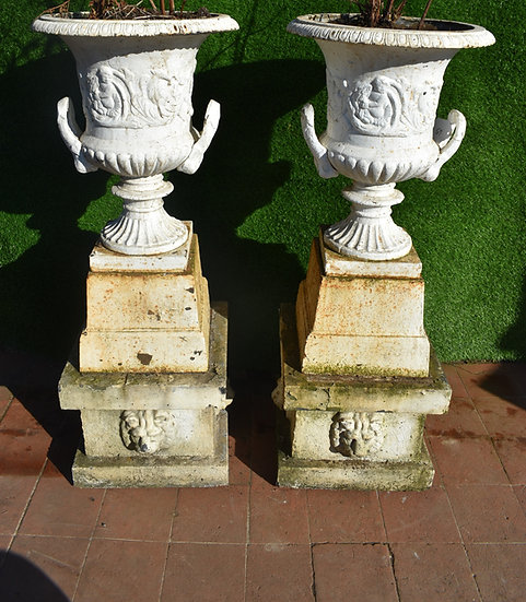 A pair Victorian cast iron urns white