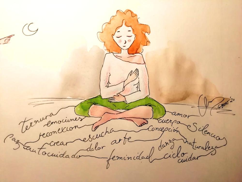 ternura, conexión, amor propio,, feminidad, ciclo, cuidarse, danza, concepción, amor, cuerpo, naturaleza, silencio, dolor, arte, autocuidado, emociones, reconexión