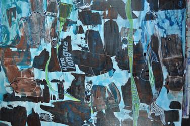 Une langue sous marine, acrylique et broderie sur toile