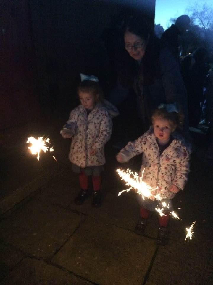 My girls having fun with their sparklers
