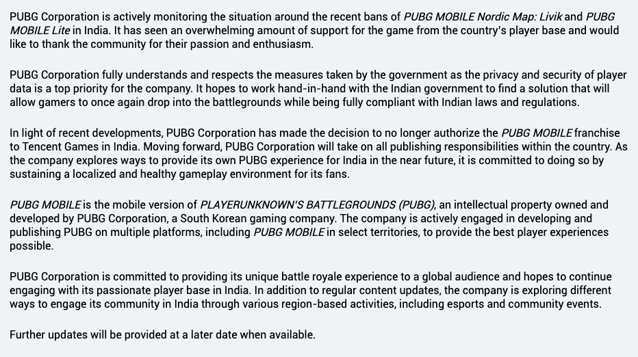 PUBG Corporation has made a decision to no longer autorize Tencent Games in India.