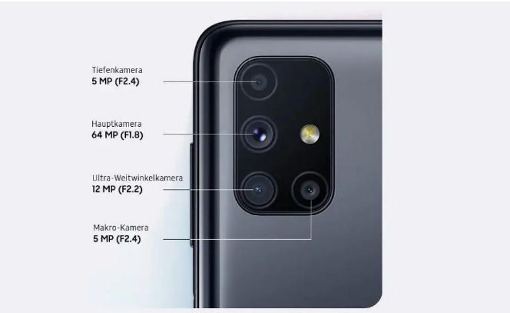 Samsung Galaxy M51 with a quad camera setup of 64MP+12MP+5MP+5MP