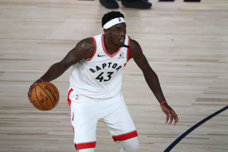 Toronto Raptors star Pascal Siakam in action against the state capital Celtics within the Conference Semifinals.