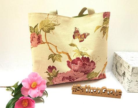 'Bella' - Extra large shoulder bag in pink and green florals.