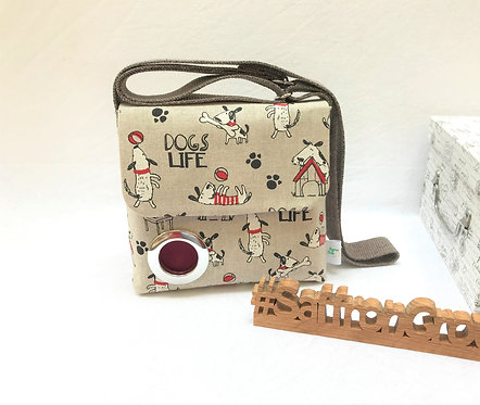 'Tessa' - Small dog walking bag in beige, red and black.