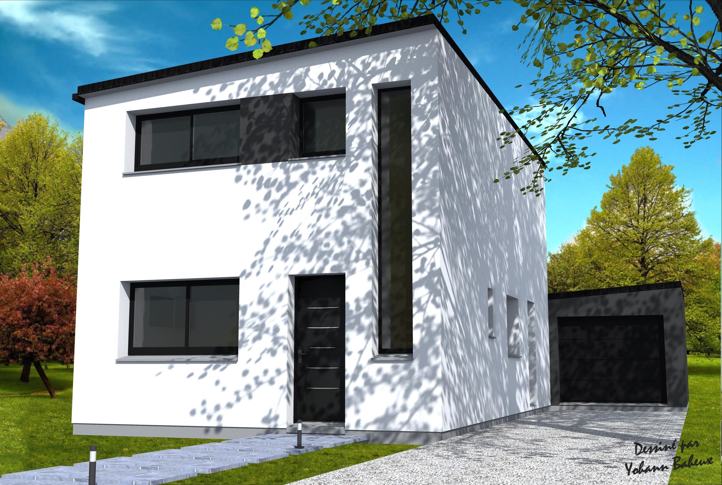 Maison cubique pour terrain troit yohann baheux ma tre for Construire une maison sur un terrain agricole