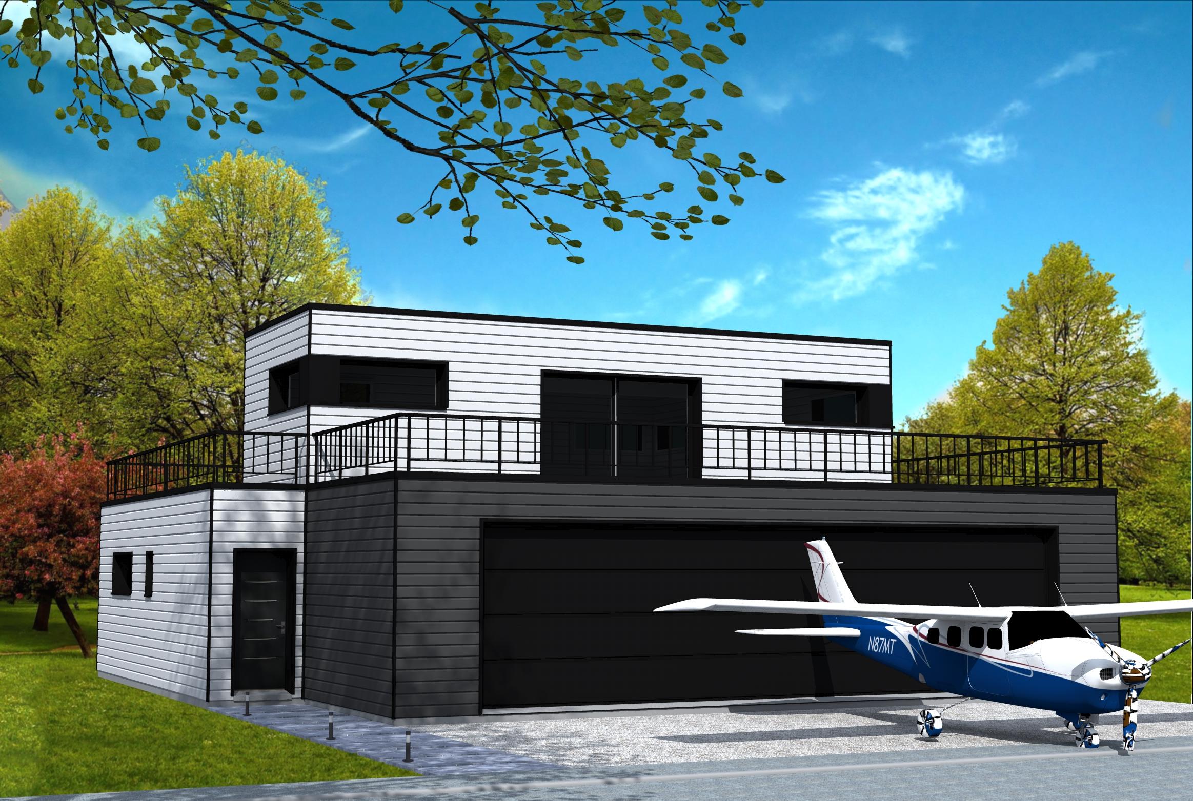 Maison Cubique Avec Garage Pour Avion Yohann Baheux