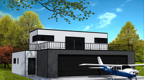 Maison cubique avec garage pour avion