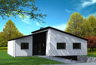 Maison moderne avec toiture asymétrique.