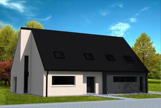 Maison en briques et Cédral gris anthracite