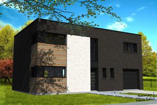 Maison cubique avec briques noires