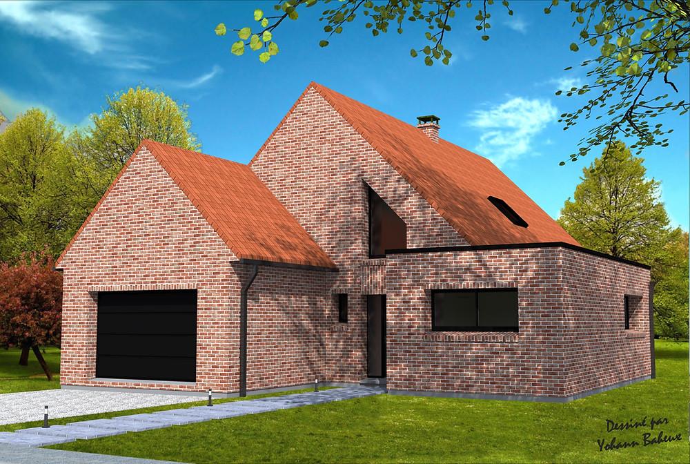 Maison avec entrée sur pignon, toit terrasse