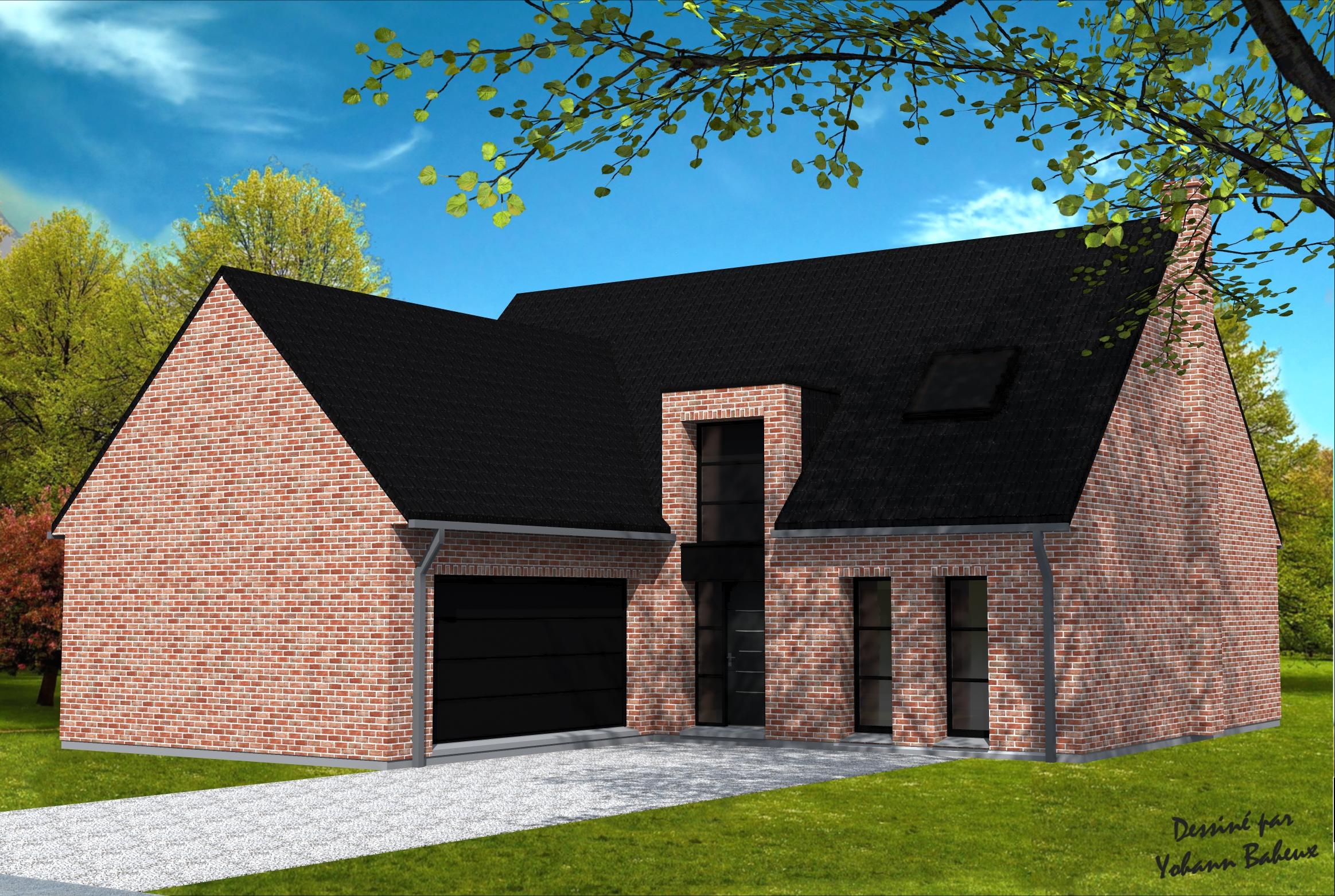 maison avec garage en avanc yohann baheux ma tre d 39 oeuvre permis de construire 59 62. Black Bedroom Furniture Sets. Home Design Ideas