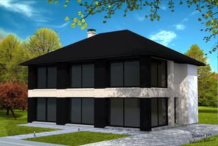 Maison avec façade vitrée