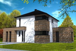 Maison R+1 avec extensions cubiques