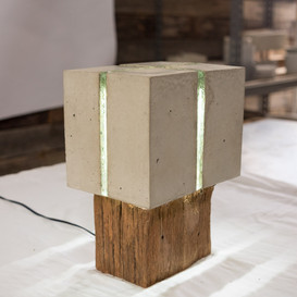 Japandi lamp. Cement, wood, copper and glass. Zen and Cement, Marrickvile, Australia