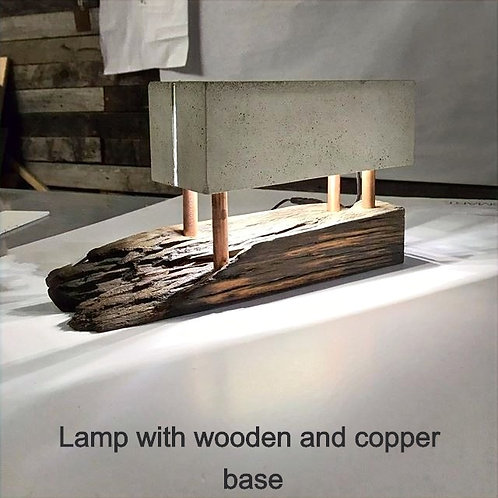 Lamp with copper and wood base